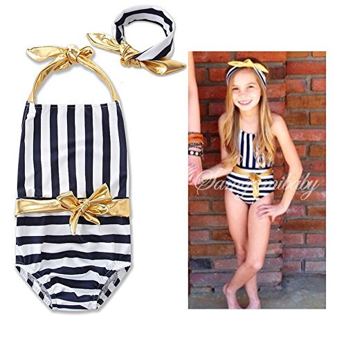 3184c3db2c BERTERI One-Piece Cute Striped Swimsuit with Gold Bow Bathing Suits Bikini  Swimwear for Baby