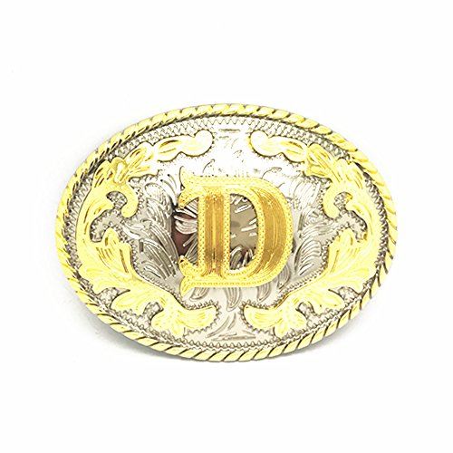 Unisex Adult Alphabet Letter Oval Western Belt Buckle (One Size, Golden(D)) - Western Oval Belt Buckle