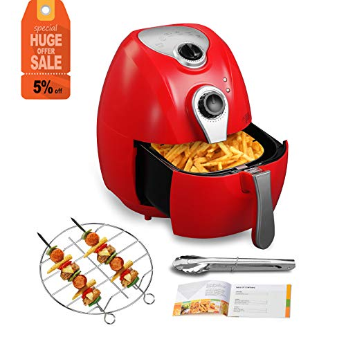 KUPPET Air Fryer-Hot Air/Deep Fryer with Basket/Rapid Air Technology For Less or No Oil/Timer & Temperature Control/8 Cooking Presets/Included Recipe,Steamer,Fryer Pan (4.4QT, Red)