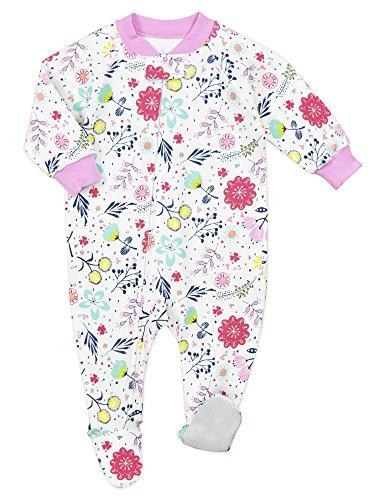Sara's Prints Baby Girls' Soft Footed Pajamas, Precious Blooms/Pom, 9M - Sara Girls Clothing