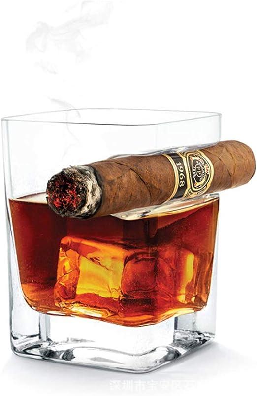 vasos whisky con el sostenedor del cigarro, Pasado de moda copa de brandy, 14 oz 320ml Copa de vino para los amantes del cigarro del cigarro, Regalos ...