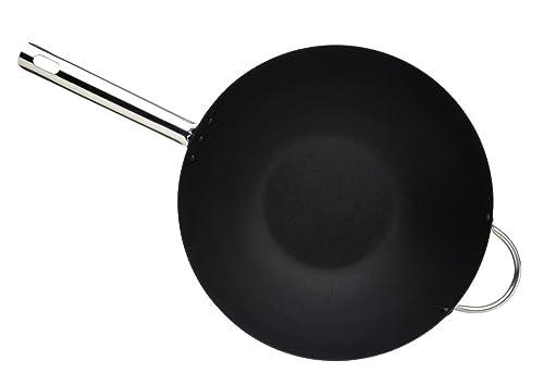 "MasterClass Professional Large Non-Stick Carbon Steel Induction-Safe Wok, 35.5 cm (14"")"