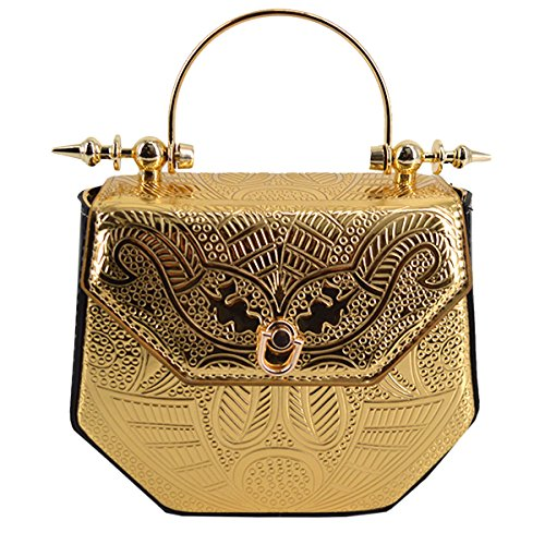 LABANCA Womens Embossed Chain Handle Tote Bags Purse Casual Fahion Shoulder Cross Body Purse Evening Bag Gold ()