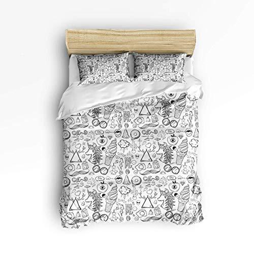 A07 200 x 200cm Ensembles mignons de housse de couette pour garçons filles, peinture à la main, crème glacée, licorne blanche, ensemble de literie décoratif comprenant 1 housse de couette avec 2 taies d'oreiller