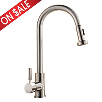 Comllen Best Commercial Single Handle Pull Out Sprayer Stainless Steel  Kitchen Sink Faucet, Pull Down