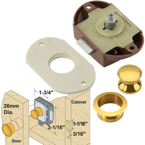 Platte River 165257, 10-pack , Hardware, Locks And Latches, Catches And Bolts, Push Button Catch With Brass Fittings by Platte River