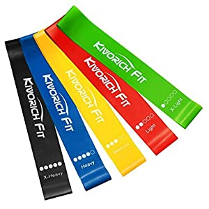Kivorich Fit Resistance Bands, Exercise Bands for Leg Ankle Stretching Physical Therapy, Yoga Elastic Bands for Home Fitness women men Strength Training, Set of 5 by Kivorich Fit