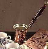 Ottoman Essential Copperware Pentolino da Caffè Turco Ibrik o Cezve manico in legno