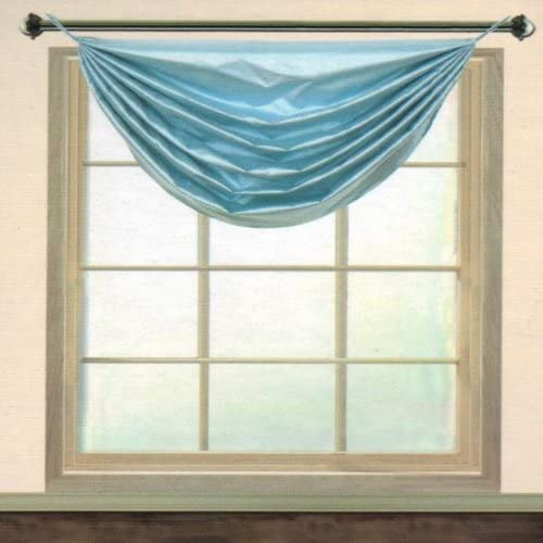 Editex Home Textiles Elaine Grommets Without Trim Waterfall Valance, 36 by 37-Inch, Light Blue