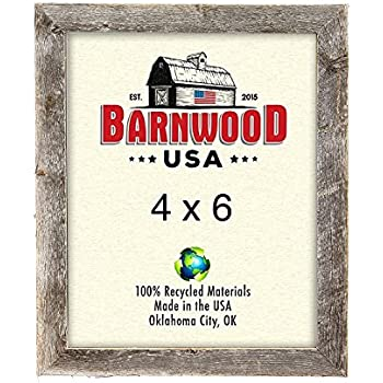 BarnwoodUSA Rustic 4x6 Inch Picture Frame 1.25 Inch Wide - 100% Reclaimed Wood, Weathered Gray