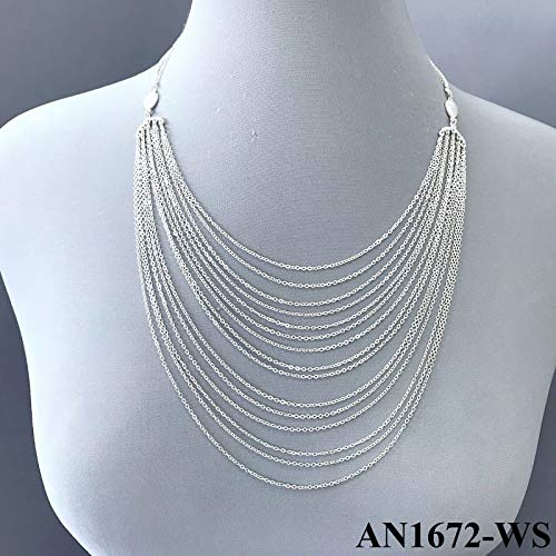 - Matte Silver Tone Finish Multiple Chain Layered Statement Dainty Style Necklace Set For Women