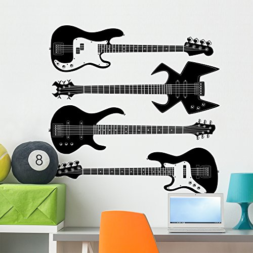 Wallmonkeys Bass Guitars Music Silhouette Wall Decal Sticker Set Individual Peel and Stick Graphics on a (36 in H x 36 in W) Sticker Sheet WM381038