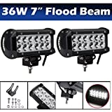 LED Light Bar 7 inch 36W Flood Beam Driving Off-road Work Light Waterproof for SUV Truck Boat 4WD 4X4 Mining (Set of 2)