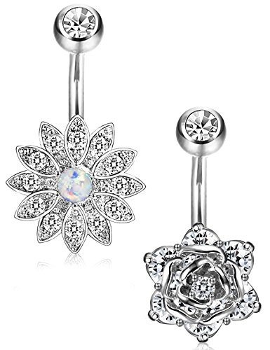 silver belly button rings - 5