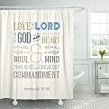 VaryHome Shower Curtain Verse of Bible Quote Use As About Love God with All Heart Soul Mind From Matthew on Zigzag Catholic Waterproof Polyester Fabric 72 x 78 Inches Set with Hooks