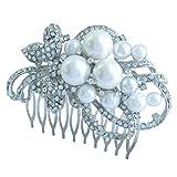 Sindary Wedding Headpiece Silver-tone Pearl Rhinestone Crystal Flower Hair Comb