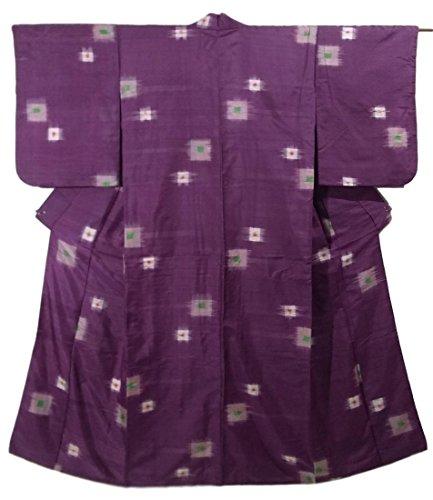 協定一般的に言えば発火するアンティーク 着物 銘仙  色紙文様 正絹 袷 裄60.5cm 身丈143cm