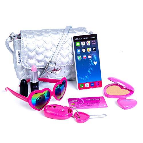 PixieCrush Pretend Play Purse & Makeup for Girls - Fun Little Girl Cosmetics Toys Set with Pretend Makeup, Cute Press Powder, Eyeshadow, Cell Phone, Kids Lipstick, Sunglasses & Keys