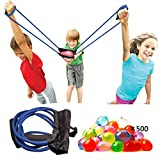 Upgraded Water Balloon Launcher 500 Yards, 3 Person Balloon Large Slingshot Trebuchet, Tshirt Slingshot Launcher, Water Cannons Yard Toys Outdoor Game for Kids Adults. ( 500 Balloons Included )