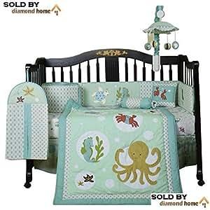 13 piece sea animals baby bedding crib sets for Fishing crib bedding