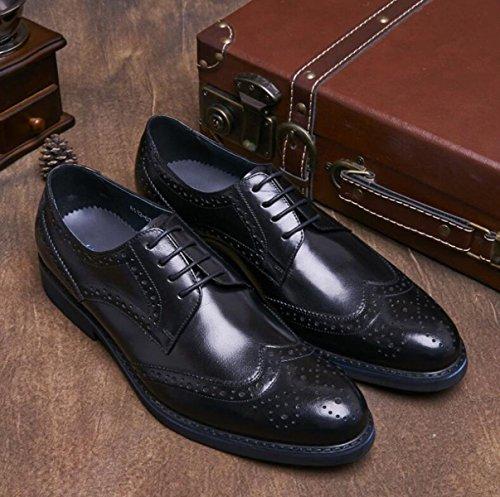Pointu Black Tenue Respirante Cuir En GRRONG Véritable En Chaussures Homme Pour Cuir z8PzBq