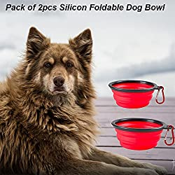 Pack of 2pcs Collapsible Dog Bowl, Eco-friendly Silicone Foldable Expandable Cup Dish for Pet Cat Food Water Feeding Portable Travel Bowl Free Carabiner (Red)