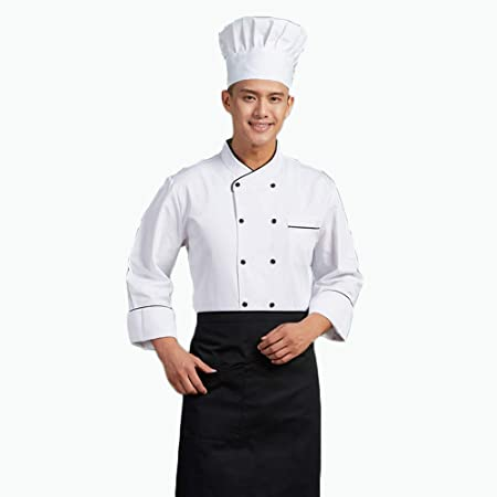 WYCDA Camisa de Cocinero Cocina Uniforme Manga Larga Blanco Negro Sección Delgada Transpirable Disfraz de Chef Sin Desvanecimiento Protección del Medio Ambiente,Blanco,XL: Amazon.es: Hogar