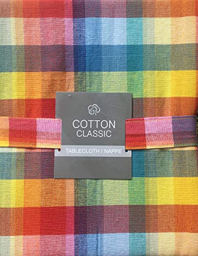 Cotton Classic Tablecloth Colorful Rainbow Plaid Bistro Check Stripes Pattern - 60 Inches Round]()