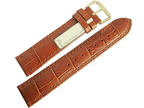 Fluco Crocodile-Grain 22mm Tan Leather Gold Buckle Watch ()