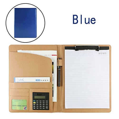 PU Leather File Folders with Pockets Clipboard Folder for A4 Letter Size Writing Pad with Calculator Inside (Blue) - File Letter Pad