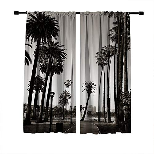 Miblor Decorative Blackout Window Treatments Curtains for Bedroom Living Room Kitchen Dorm, Los Angeles Downtown Park View with Palm Trees Black White Image, Light Blocking Window Drapes 2 Panels