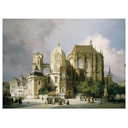 """GREATBIGCANVAS Poster Print Entitled Square of The Cathedral of Aachen. 1854. Michael Neher by 36""""x26"""""""