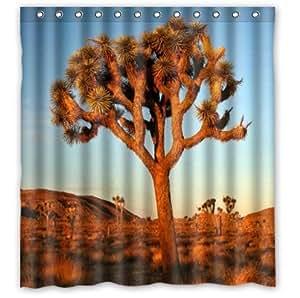 Beautiful Joshua Tree At The Sunset Joshua Tree Custom 100% Polyester Waterproof Shower Curtain 66 x 72