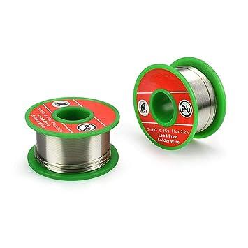 Cable de soldadura de 0,6 mm sin plomo con núcleo de rosina Sn993 Pb007 Cu0.7 con flujo 2.2% para soldadura eléctrica libre de lavado: Amazon.es: Bricolaje ...