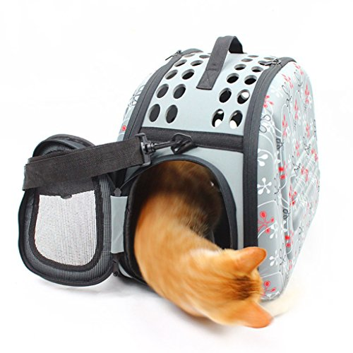 Petetpet Pet Carrier Travel Collapsible Puppy Tote Lightweight Cat Shoulder Bag Outdoor Airline Approved Small Dogs Handbag 16 5X11 8X11 Inch  Grey