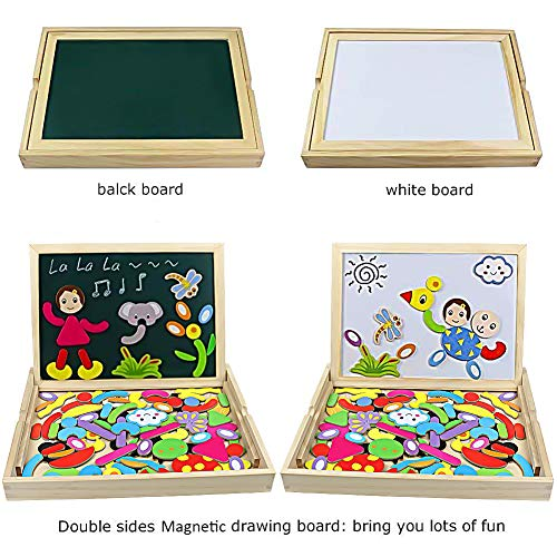 Jerryvon Wooden Puzzle Montessori Toys Magnetic Drawing Board Double