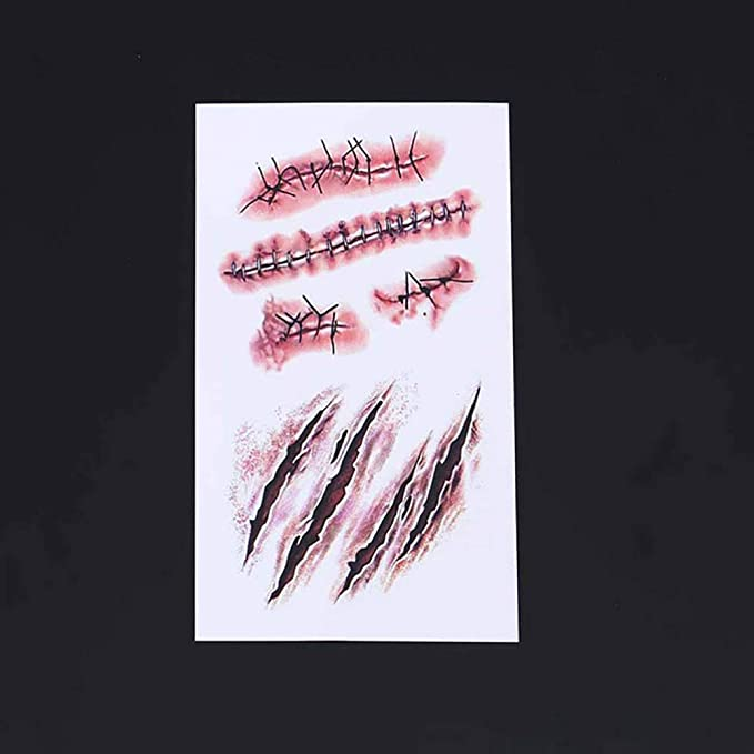 10sheets Halloween Wound Scars Tattoos pegatinas Horror ...