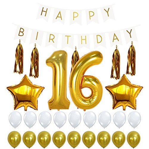 16th BIRTHDAY PARTY DECORATIONS KIT - Happy Birthday Banner Sign, Number 16 Mylar Balloon, Gold Tassels, Gold White Latex Ballon, Perfect 16 Year Old Party Supplies Free Printable Bday -
