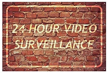 CGSignLab 12x8 24 Hour Video Surveillance Ghost Aged Brick Heavy-Duty Outdoor Vinyl Banner