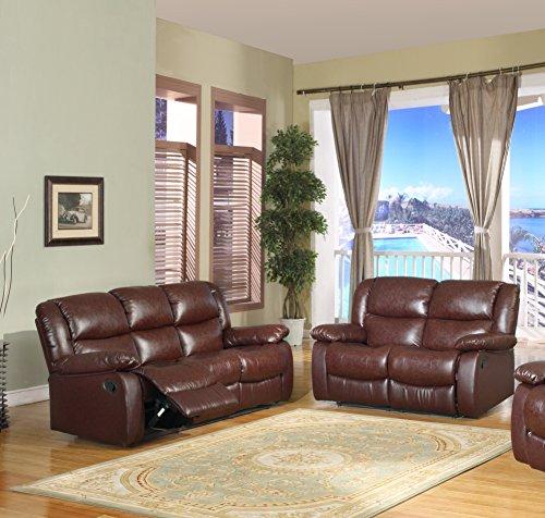 Brooklyn Merlot Upholstered Bonded Leather Motion Living Room Set (Loveseat, Sofa) by Pilaster Designs