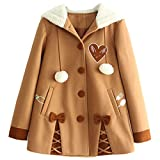 Partiss Womens Winter Cute Button Fleece Pea Coat Hooded Outwear Jacket,S,Brown