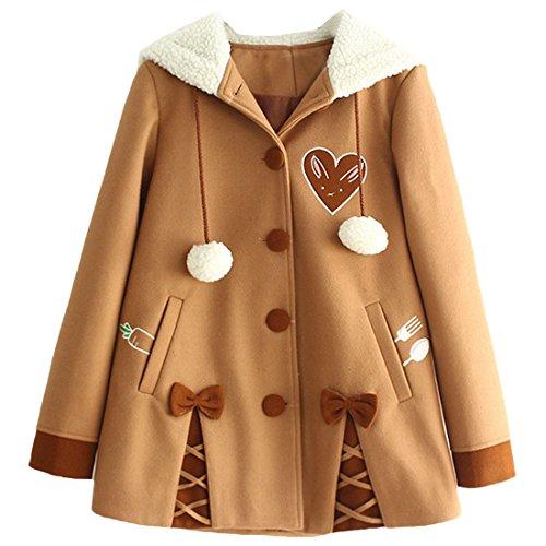 Partiss-Womens-Winter-Cute-Button-Fleece-Pea-Coat-Hooded-Outwear-Jacket