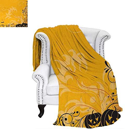 Oversized Travel Throw Cover Blanket Carved Pumpkins with Floral Patterns Bats and Web Horror Jack o Lantern Artwork Super Soft Lightweight Blanket 70