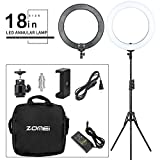 ZOMEI 18-inch Bi-Color Stepless Dimmable LED Ring Light Kit with Stand 58W 5500K Output Hot Shoe Adapter for Outdoor Shooting Live Streaming Make Up and YouTube Video
