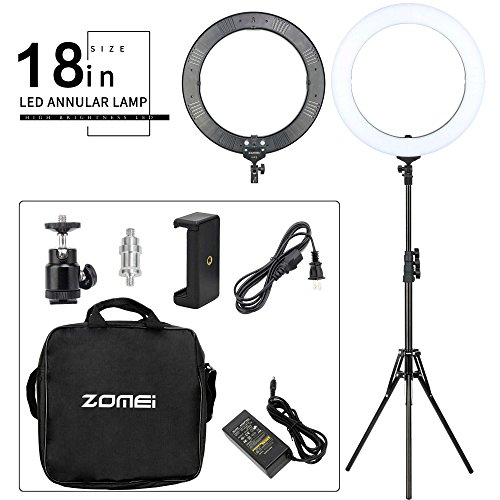 - ZOMEI 18-inch Bi-Color Stepless Dimmable LED Ring Light Kit with Stand 58W 5500K Output Hot Shoe Adapter for Outdoor Shooting Live Streaming Make Up and YouTube Video
