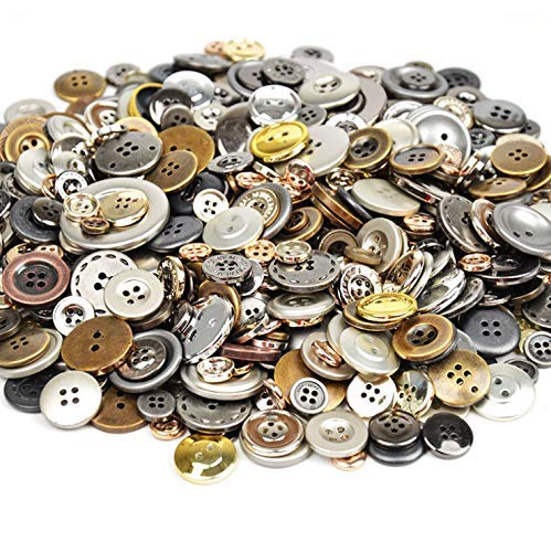 Esoca 650Pcs Gold and Silver Buttons for Crafts Buttons for Art, DIY Crafts, Christmas Decoration (Metal Color))