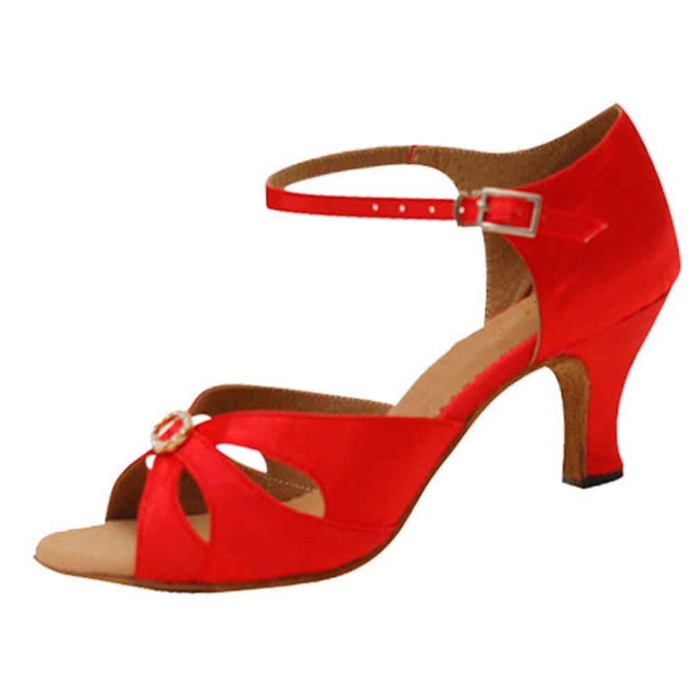 GUOSHIJITUAN Frauen rot Latein Tanzschuhe Leise Unten Satin High Heel Salsa Dancing Schuhe Tango Soziale Tanzschuhe