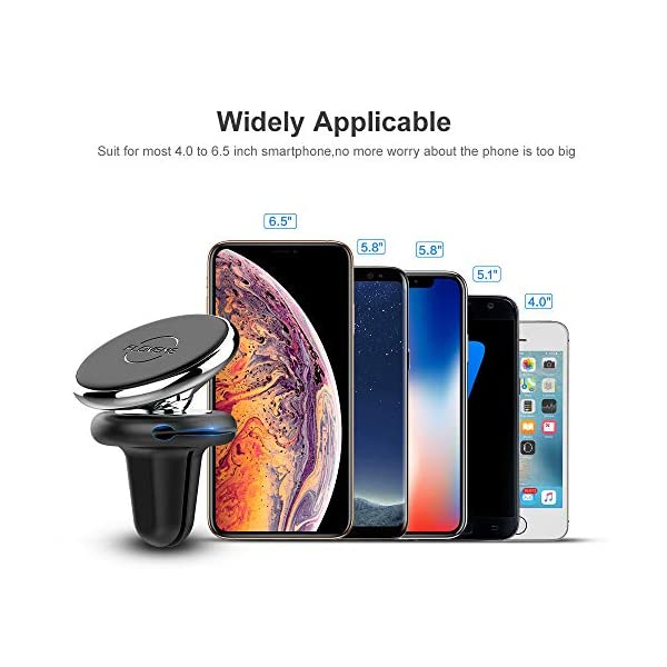 Black FLOVEME Magnetic Phone Car Mounts Holder Magnet Cell Phone Holders for Car Cradle Stand for iPhone Xs Max XR X 8 7 6 Samsung S9 S8 Plus S7 Air Vent Car Mount with 4 Magnetic Metal Plates