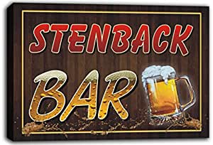 scw3-103621 STENBACK Name Home Bar Pub Beer Mugs Cheers Stretched Canvas Print Sign