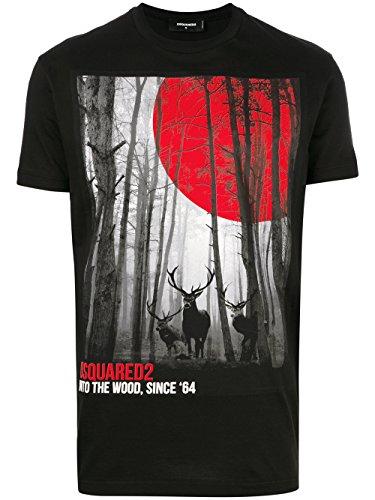 Dsquared2 Herren S71GD0556S22427900 Schwarz Baumwolle T-Shirt